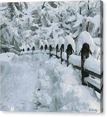 A Country Road In Winter Canvas Print
