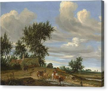 Old Country Roads Canvas Print - A Country Road by Salomon van Ruysdael