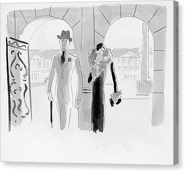 A Couple At The Ritz Hotel Canvas Print by Oberle