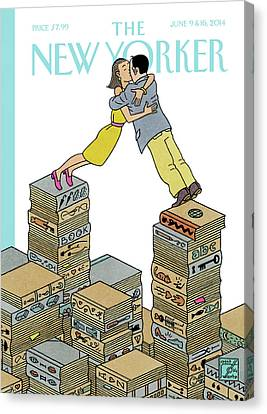 Books Canvas Print - A Couple Embrace On Top Of A Pile Of Books by Joost Swarte