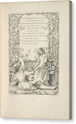 A Couple In A Garden Canvas Print by British Library