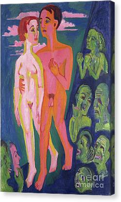 A Couple In Front Of A Crowd Canvas Print by Ernst Ludwig Kirchner