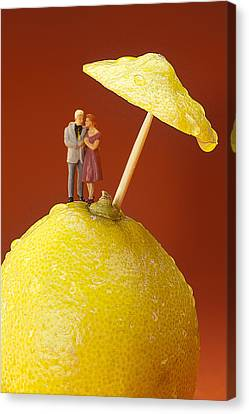 Canvas Print featuring the painting A Couple In Lemon Rain Little People On Food by Paul Ge
