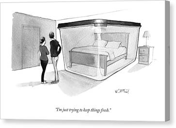 A Couple Looks At A Bed Encased In A Giant Canvas Print by Will McPhail