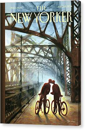 Architecture Canvas Print - A Couple On Bikes Embrace Under The Fifty-ninth by Eric Drooker