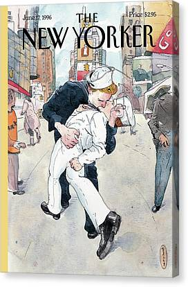 Times Square Canvas Print - A Couple Reenacts A Famous World War II Kiss by Barry Blitt