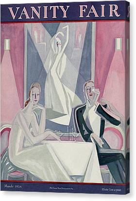A Couple Sitting At A Table Canvas Print by Eduardo Garcia Benito
