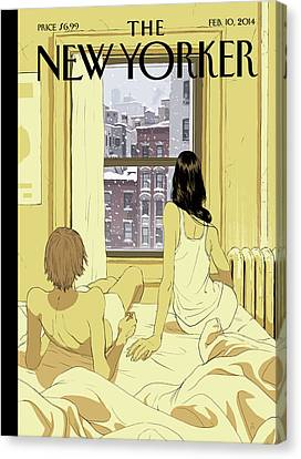 City Scenes Canvas Print - A Couple Stays In Bed While It Snows In The City by Tomer Hanuka