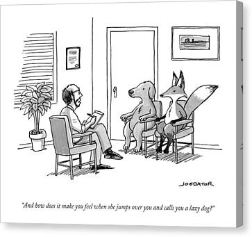 A Couples Therapist Speaks To A Fox And A Dog Canvas Print