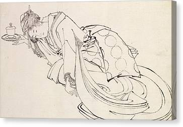 A Courtesan Offering A Cup Canvas Print