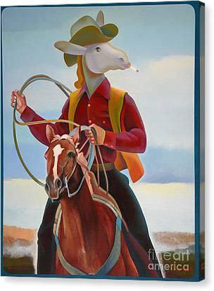 A Cowboy Canvas Print by Jukka Nopsanen