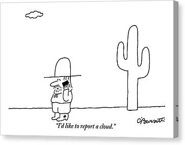 A Cowboy Talks On A Cell Phone In A Desert Canvas Print by Charles Barsotti