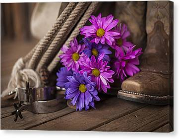 A Cowgirl's Flowers Canvas Print by Amber Kresge