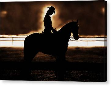 A Cowgirls Prayer Evening Ride Canvas Print by Chastity Hoff