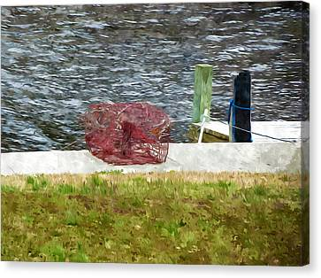 A Crab Pot Sits On A Pier Canvas Print by Lanjee Chee
