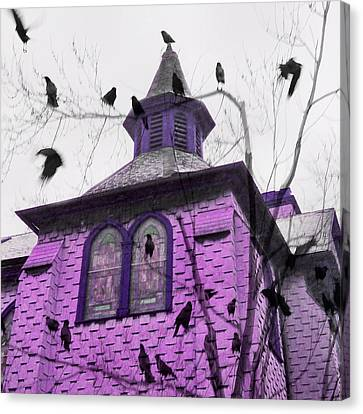 A Pink Church Crow Fantasy Canvas Print by Gothicrow Images