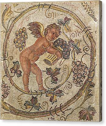 A Cupid Picking Grapes, Fragment Of Pavement From Carthage, Tunisia Mosaic Canvas Print by Roman School