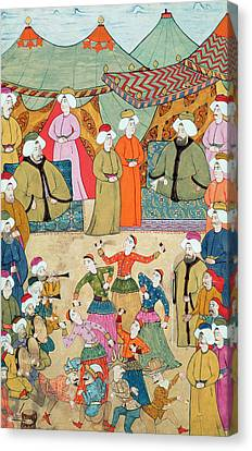 A Dance For The Pleasure Of Sultan Ahmet IIi 1673-1736 From The Surnama, 1720 Canvas Print by Ottoman School