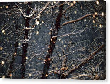 Snowy Night Night Canvas Print - A Dark And Snowy Night Painterly 3 by Andee Design