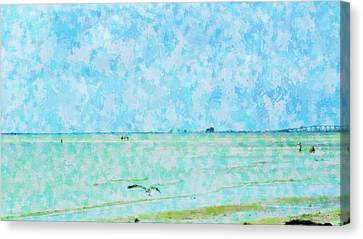 Florida Bridge Canvas Print - A Day At Sanibel Shores by Florene Welebny