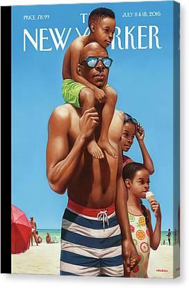 A Day At The Beach Canvas Print by Kadir Nelson