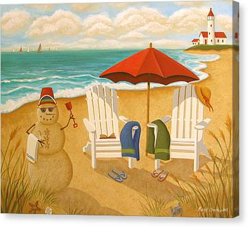 A Day At The Beach Canvas Print by Mary Charles
