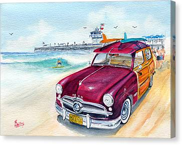 A Day At The Beach With My 49 Ford Woody Canvas Print