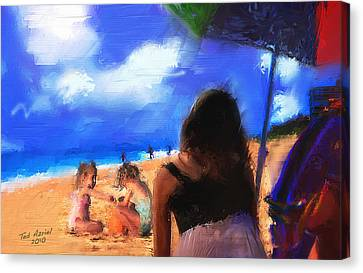 Canvas Print featuring the painting A Day At The Beach by Ted Azriel