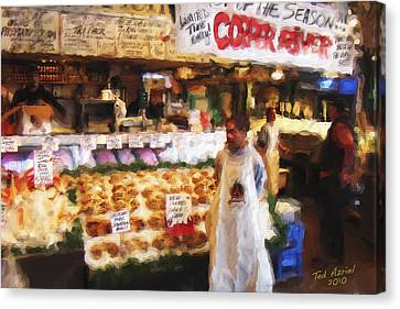 A Day At The Fish Market Canvas Print by Ted Azriel