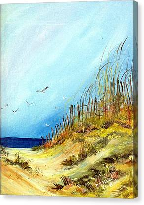 Canvas Print featuring the painting A Day At The Ocean by Dorothy Maier