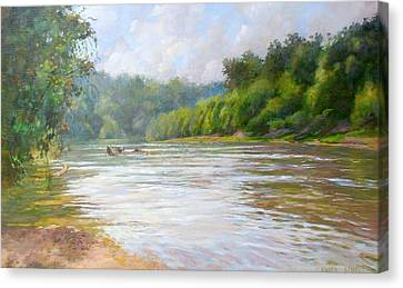 A Day At The River  Canvas Print by Nancy Stutes
