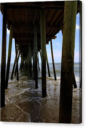 Canvas Print featuring the pyrography A Day At Virginia Beach by Rebecca Davis