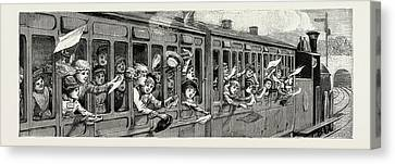 A Day In The Country, A Childrens School Treat In The Train Canvas Print
