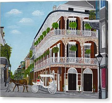 Horse And Buggy Canvas Print - A Carriage Ride In The French Quarter by Judy Jones