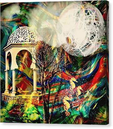 Canvas Print featuring the mixed media A Day In The Park by Ally  White