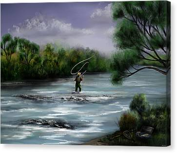 A Day On The Stream - Flyfishing Canvas Print
