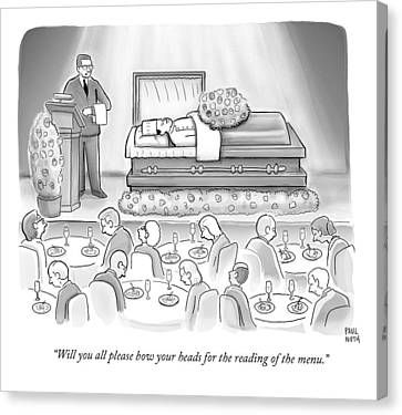 A Dead Chef Is In A Casket And A Bunch Of People Canvas Print by Paul Noth