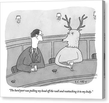 A Deer Talks To A Man At A Bar Canvas Print