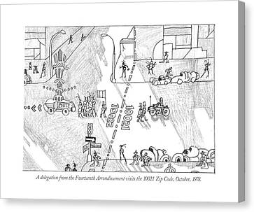 Urban Scenes Canvas Print - A Delegation From The Fourteenth Arrondissement by Saul Steinberg