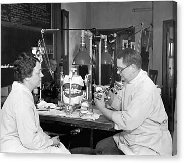 Dentistry Canvas Print - A Dentist Articulates by Underwood Archives