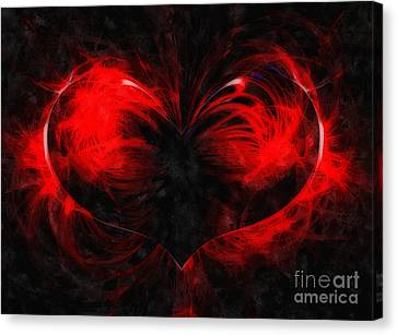 A Digital Painting Of Abstract Colouful Heart Canvas Print by Ken Biggs