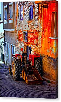 A Digitally Constructed Painting Of A Tractor Parked In A Village Street Canvas Print