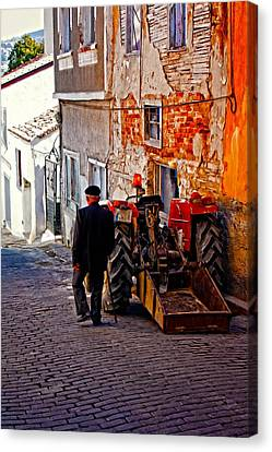 A Digitally Constructed Painting Of An Elderly Man Walking Past A Tractor In A Turkish Village Canvas Print