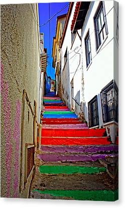 A Digitally Constructed Painting Of Multi Colored Steps In A Turkish Village Canvas Print