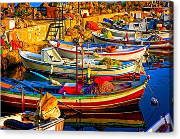 Water Vessels Canvas Print - A Digitally Constructed Painting Of Small Fishing Boats In Harbour by Ken Biggs