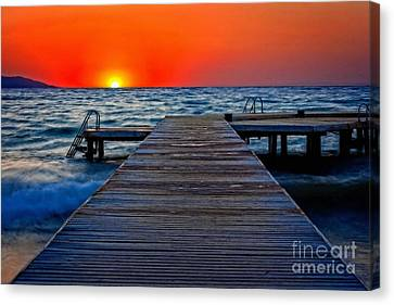 A Digitally Converted Painting Of A Wooden Pier At Sunset Canvas Print by Ken Biggs