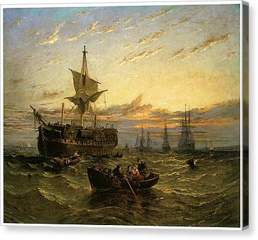 A Dismantled East Indiaman In The Thames Estuary Canvas Print by William Adolphus Knell