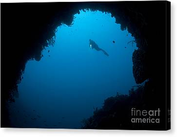 A Diver Explores A Cavern In Gorontalo Canvas Print by Steve Jones