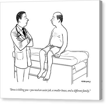 A Doctor Talks To A Male Patient Canvas Print