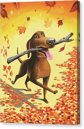 A Dog Carries A Stick Through Fall Leaves Canvas Print